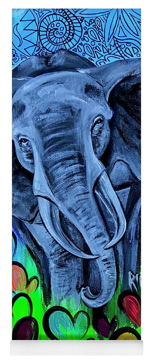 Elephant Yoga Mat featuring the painting Elley by Artist RiA