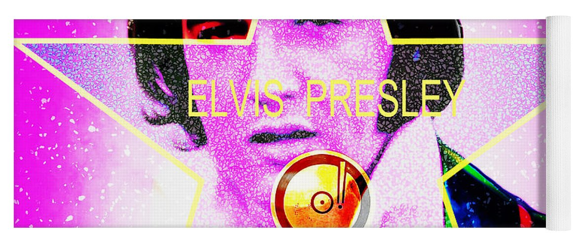Elvis Presley Yoga Mat featuring the photograph Elvis Presley Hollywood Walk Of Fame Star 20160118 by Wingsdomain Art and Photography