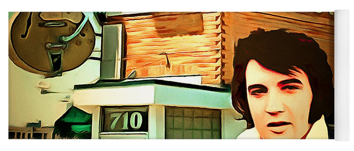 Elvis Presley Yoga Mat featuring the photograph Elvis Presley The King At Sun Studio Memphis Tennessee 20160216 Square by Wingsdomain Art and Photography