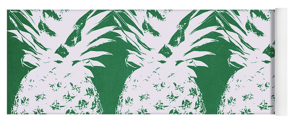 Pineapple Yoga Mat featuring the mixed media Emerald Pineapples- Art by Linda Woods by Linda Woods