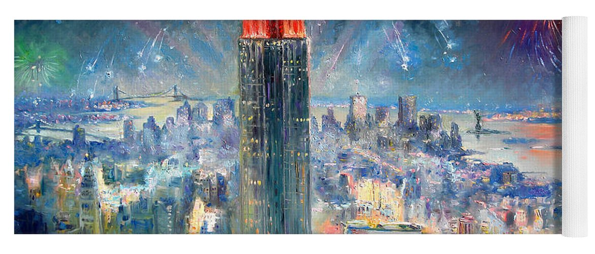 Empire State Building Yoga Mat featuring the painting Empire State Building In 4th Of July by Ylli Haruni