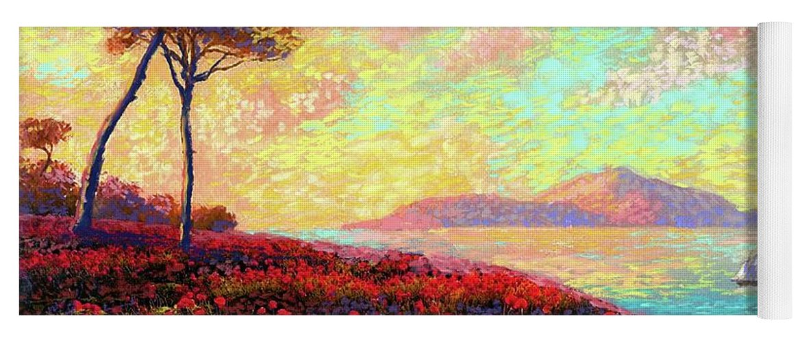 Wildflower Yoga Mat featuring the painting Enchanted By Poppies by Jane Small