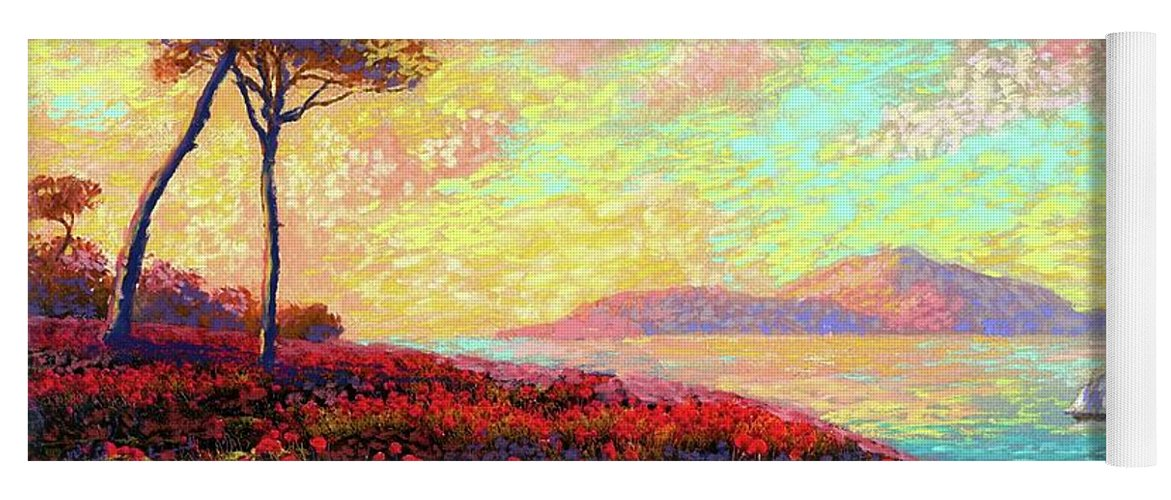 Floral Yoga Mat featuring the painting Enchanted by Poppies by Jane Small
