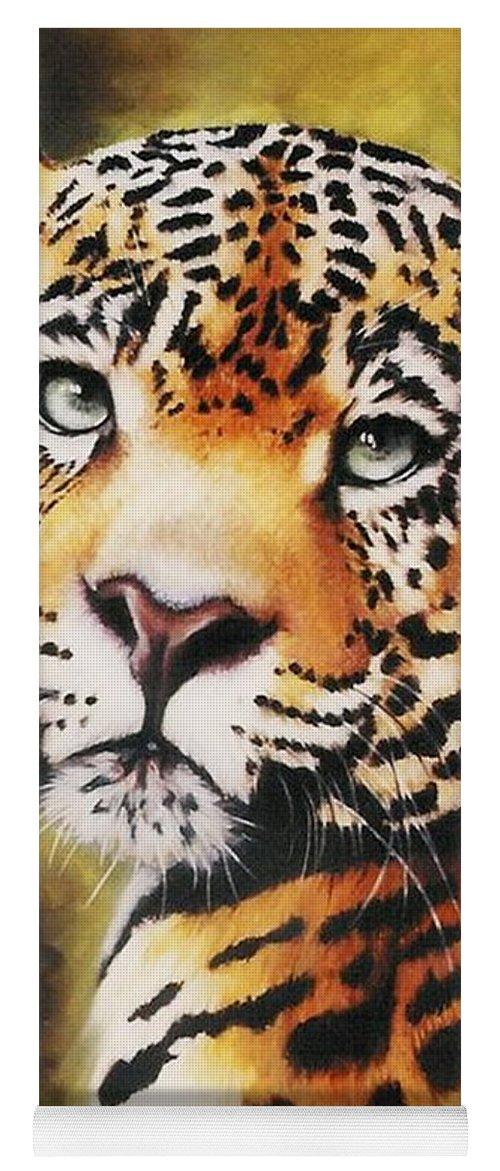 Jaguar Yoga Mat featuring the pastel Enchantress by Barbara Keith