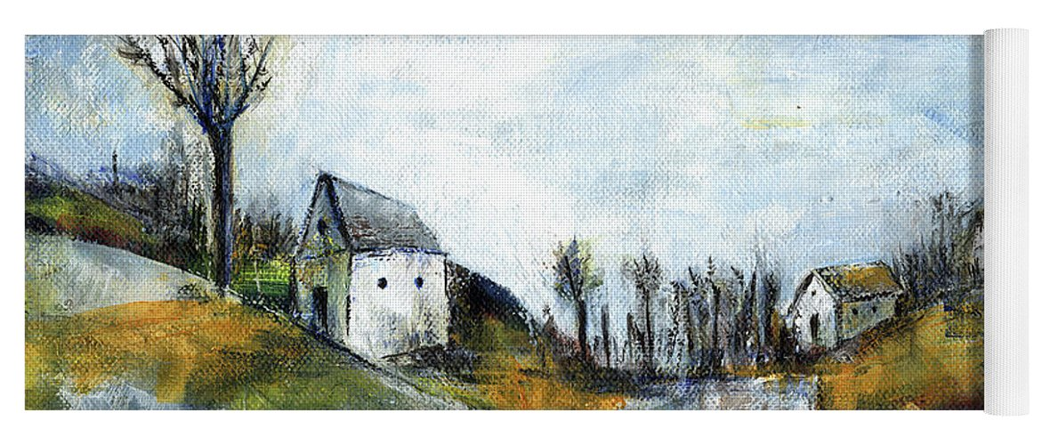 Landscape Yoga Mat featuring the painting End Of Winter - Acrylic Landscape Painting On Cotton Canvas by Aniko Hencz