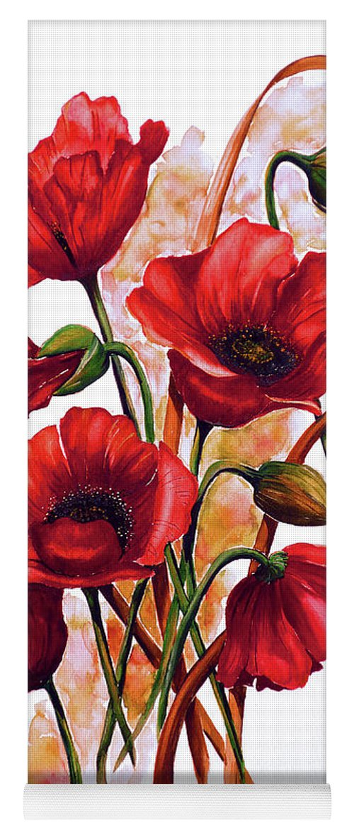 Red Poppies Paintings Floral Paintings Botanical Paintings Flower Paintings Poppy Paintings Field Poppy Painting Greeting Card Paintings Poster Print Painting Canvas Print Painting  Yoga Mat featuring the painting English Poppies 2 by Karin Dawn Kelshall- Best