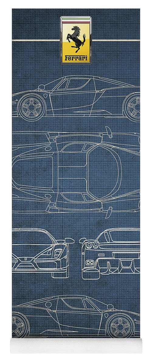 Enzo ferrari blueprint with ferrari 3 d badge yoga mat for sale by ferrari by serge averbukh yoga mat featuring the digital art enzo ferrari blueprint with malvernweather Gallery