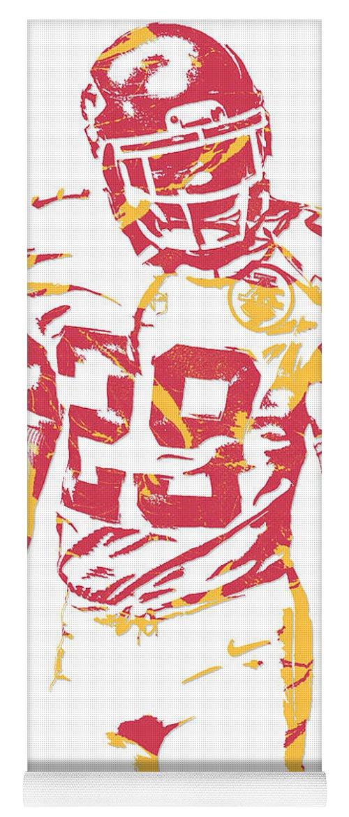 Eric Berry Yoga Mat Featuring The Mixed Media Kansas City Chiefs Pixel Art By