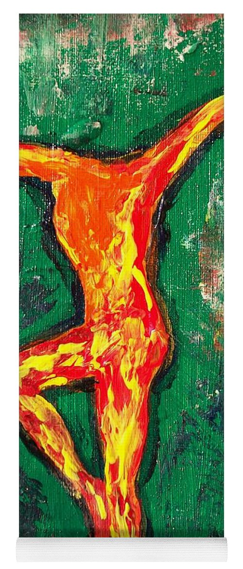 Fire Yoga Mat featuring the painting Erin by Laurette Escobar
