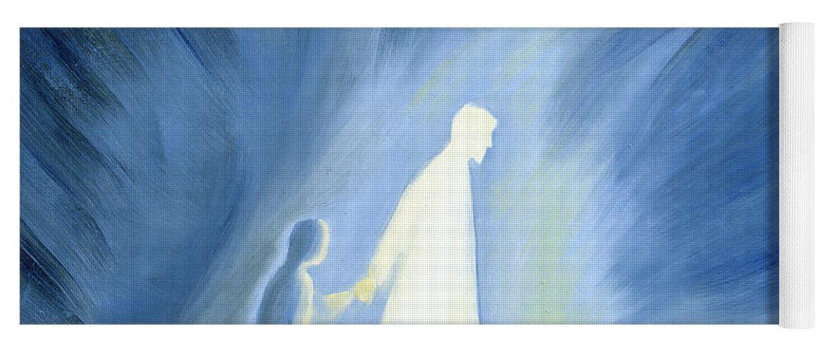 Light; Help; Guidance; Faith; Trust;catholic;catholicism;guiding;helping;aiding; Suffering; Caring; Spiritual; Savior;protector;love;bright;spiritual;religion;religious; Darkness Yoga Mat featuring the painting Even In The Darkness Of Out Sufferings Jesus Is Close To Us by Elizabeth Wang