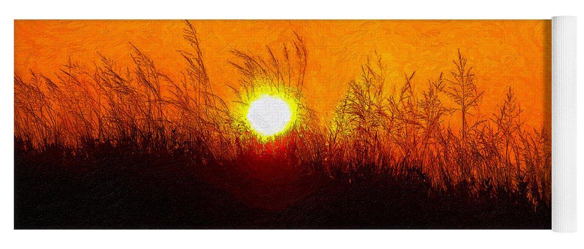 Landscape Yoga Mat featuring the photograph Evening Dunes Impasto by Steve Harrington
