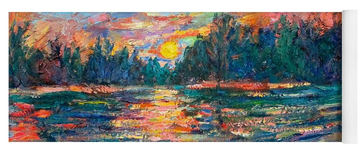 Landscape Yoga Mat featuring the painting Evening Flight by Kendall Kessler
