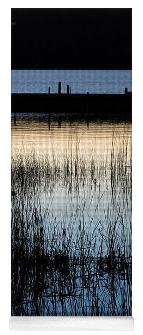 Lake Yoga Mat featuring the photograph Evening Glow by Mary Wolf