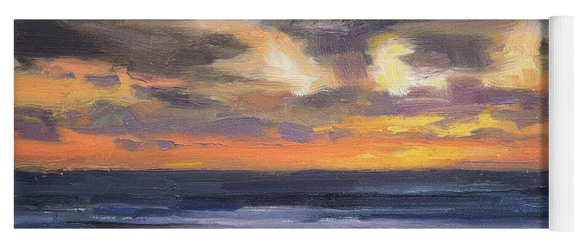 Coast Yoga Mat featuring the painting Eventide by Steve Henderson