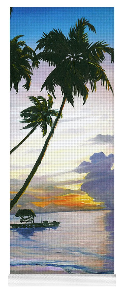 Ocean Painting Seascape Painting Beach Painting Sunset Painting Tropical Painting Tropical Painting Palm Tree Painting Tobago Painting Caribbean Painting Original Oil Of The Sun Setting Over Pigeon Point Tobago Yoga Mat featuring the painting Eventide Tobago by Karin Dawn Kelshall- Best