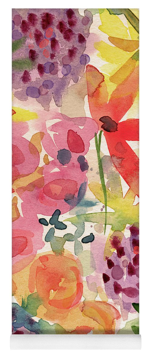 Flowers Yoga Mat featuring the mixed media Expressionist Fall Garden- Art By Linda Woods by Linda Woods