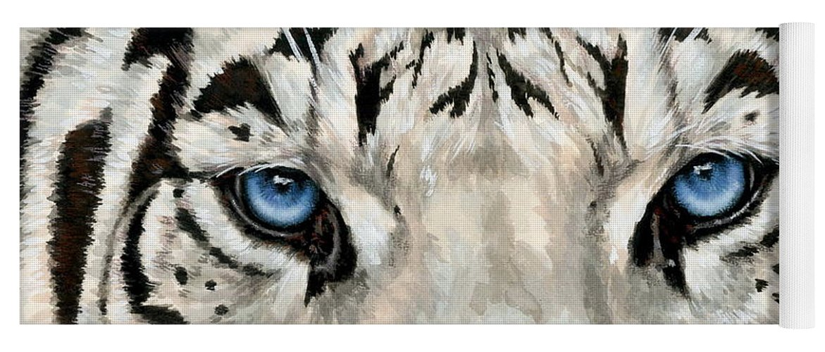Big Cat Yoga Mat featuring the painting Royal White Tiger Gaze by Barbara Keith