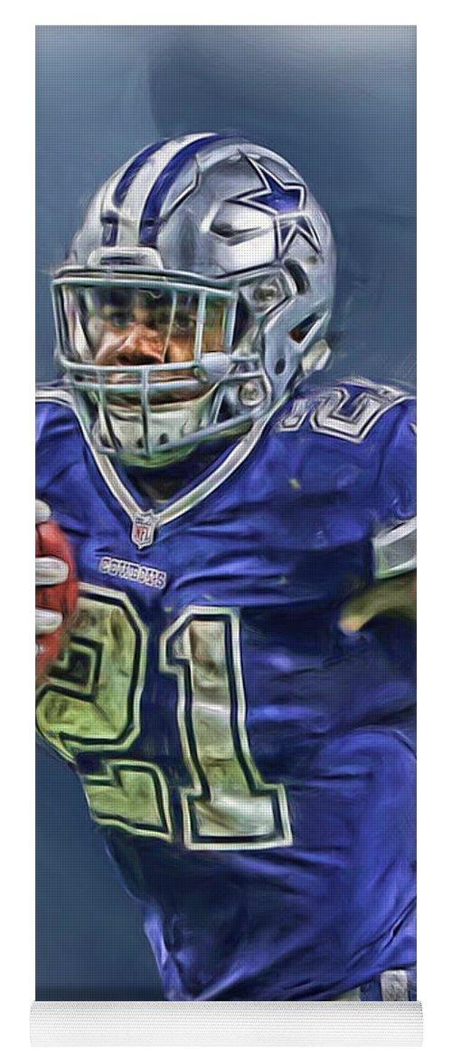 Ezekiel Elliott Yoga Mat featuring the mixed media Ezekiel Elliott Dallas Cowboys Oil Painting 2 by Joe Hamilton