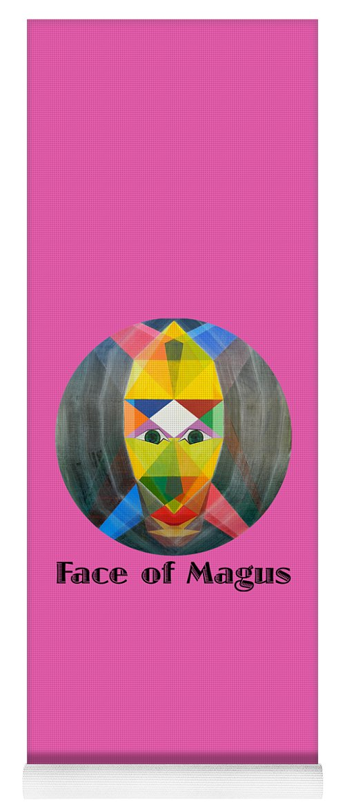 Painting Yoga Mat featuring the painting Face of Magus text by Michael Bellon
