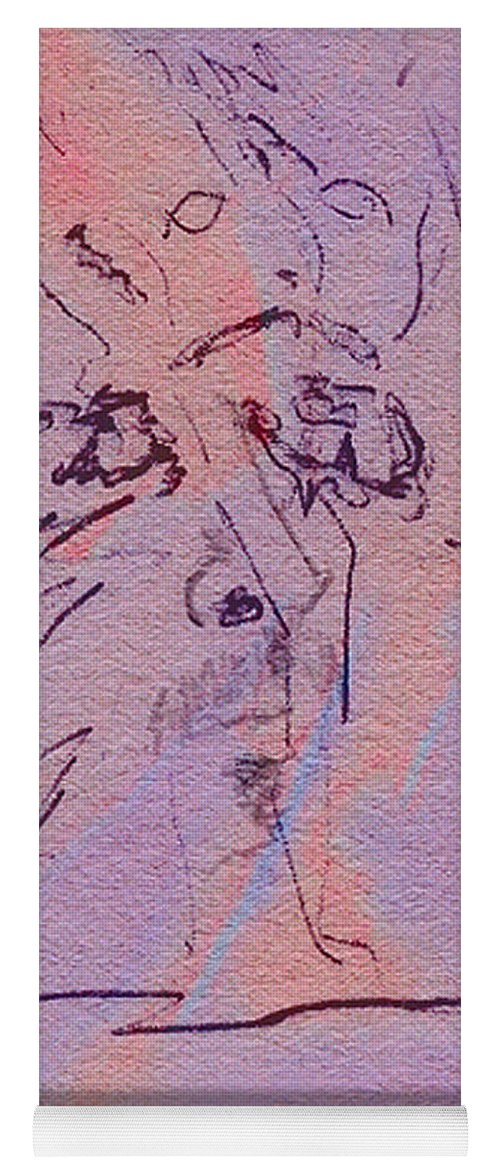 Abstract Yoga Mat featuring the mixed media Faces Of Trivia by Steve Karol