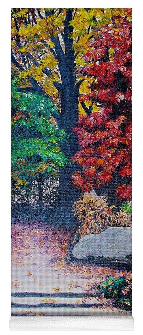 A N Original Painting Of An Autumn Scene In The Gateneau In Quebec Yoga Mat featuring the painting Fall In Quebec Canada by Karin Dawn Kelshall- Best