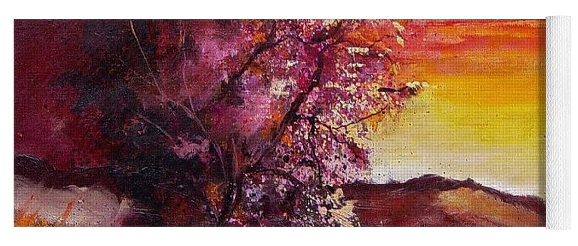 Autumn Yoga Mat featuring the painting Fall in Villers by Pol Ledent