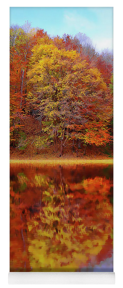 Fall Waters Yoga Mat featuring the painting Fall Waters by Harry Warrick