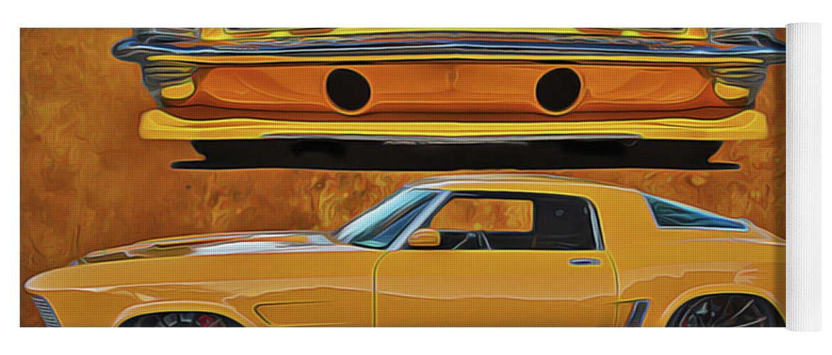 Performance Car Yoga Mat featuring the painting Fast Yellow by Harry Warrick