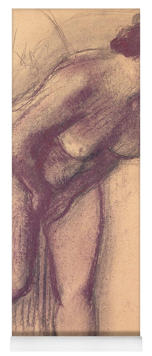 Female Standing Nude (charcoal And Pastel) By Edgar Degas (1834-1917) Yoga Mat featuring the pastel Female Standing Nude by Edgar Degas