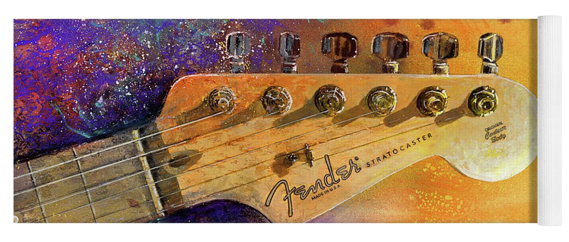 Fender Stratocaster Yoga Mat featuring the painting Fender Head by Andrew King