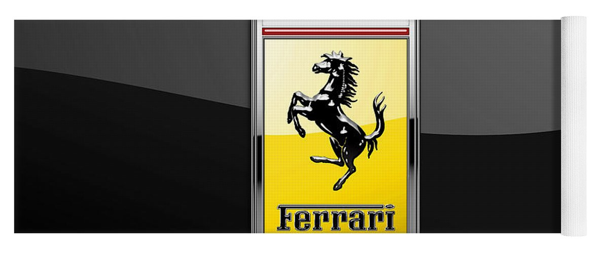 �auto Badges� Collection By Serge Averbukh Yoga Mat featuring the photograph Ferrari 3D Badge- Hood Ornament on Black by Serge Averbukh