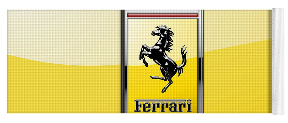 �auto Badges� Collection By Serge Averbukh Yoga Mat featuring the photograph Ferrari 3D Badge- Hood Ornament on Yellow by Serge Averbukh