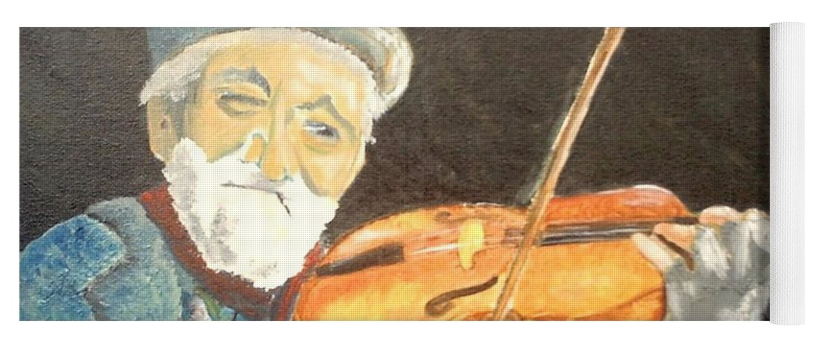 Hungry He Plays For His Supper Yoga Mat featuring the painting Fiddler Blue by J Bauer