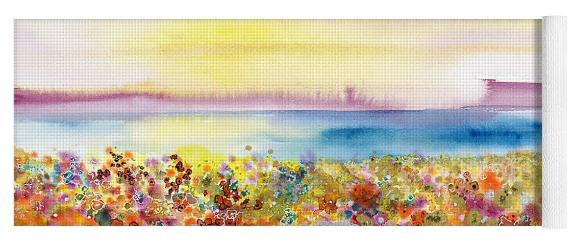 Abstract Yoga Mat featuring the painting Field Of Joy by Tara Thelen - Printscapes