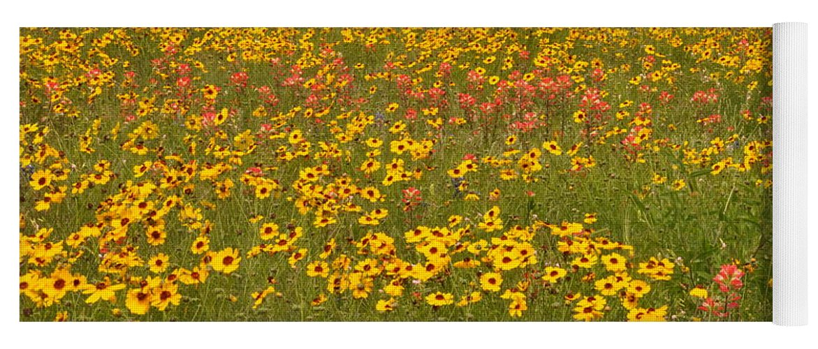Texas Hill Country Yoga Mat featuring the photograph Field of Spring Wildflowers by Frank Madia