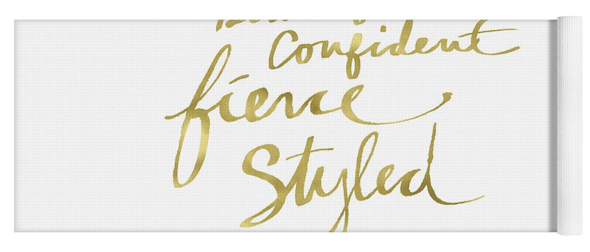 Fashionista Yoga Mat featuring the painting Fierce And Styled Gold- Art By Linda Woods by Linda Woods