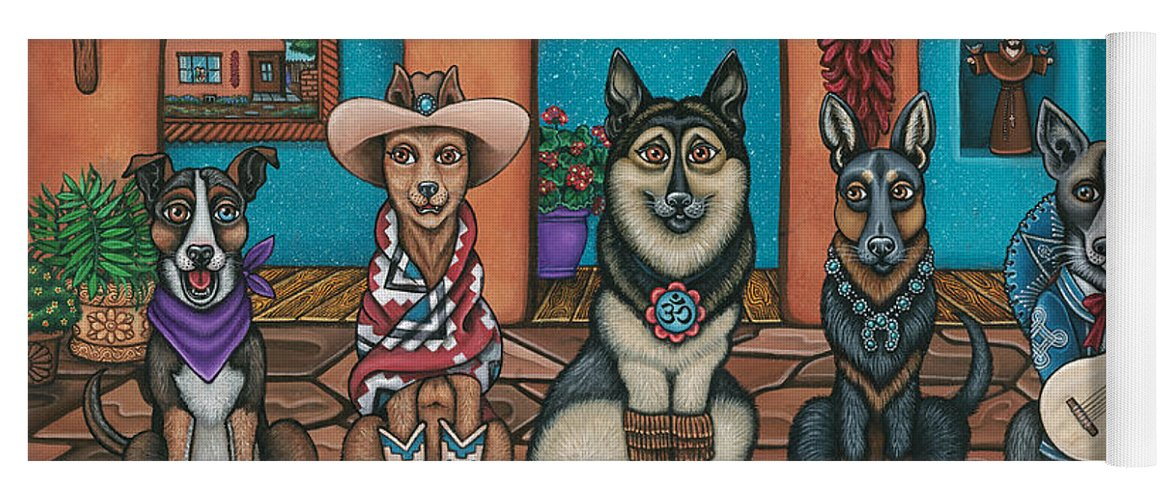 Dogs Yoga Mat featuring the painting Fiesta Dogs by Douglas Jones