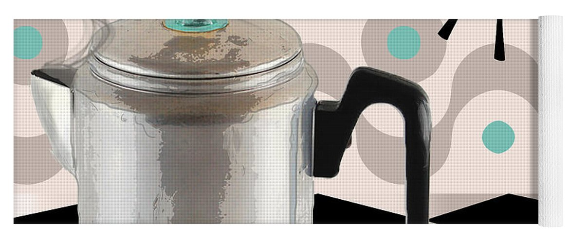 Fifties Yoga Mat featuring the painting Fifties Kitchen Coffee Pot Perk Coffee by Mindy Sommers