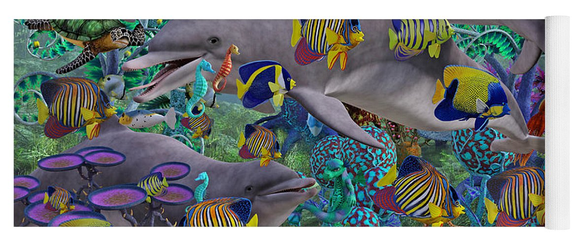 Dolphin Yoga Mat featuring the digital art Find The Sea Dragon by Betsy Knapp
