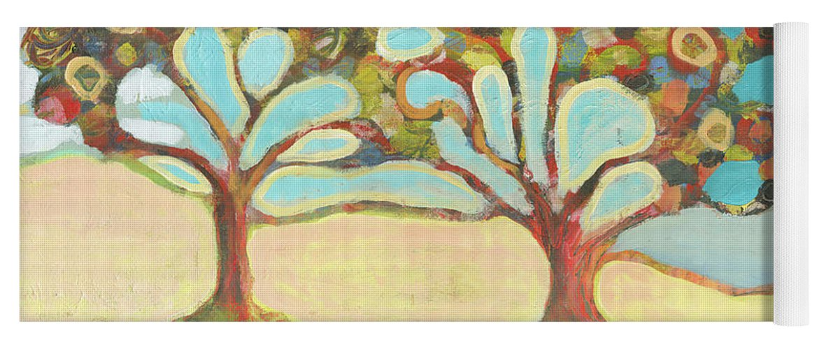 Tree Yoga Mat featuring the painting Finding Strength Together by Jennifer Lommers