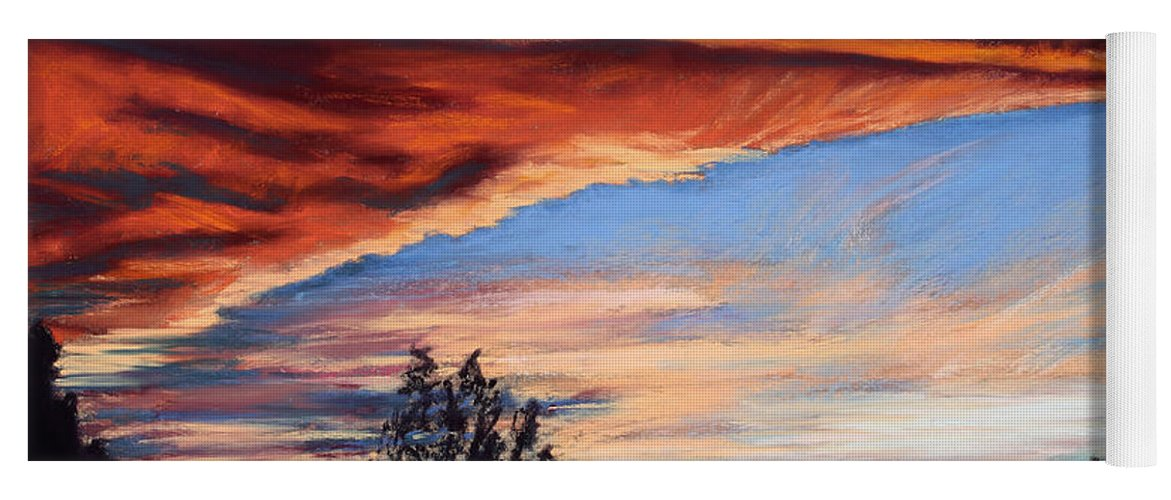Sunset Yoga Mat featuring the painting Fire In The Sky by Mary Benke