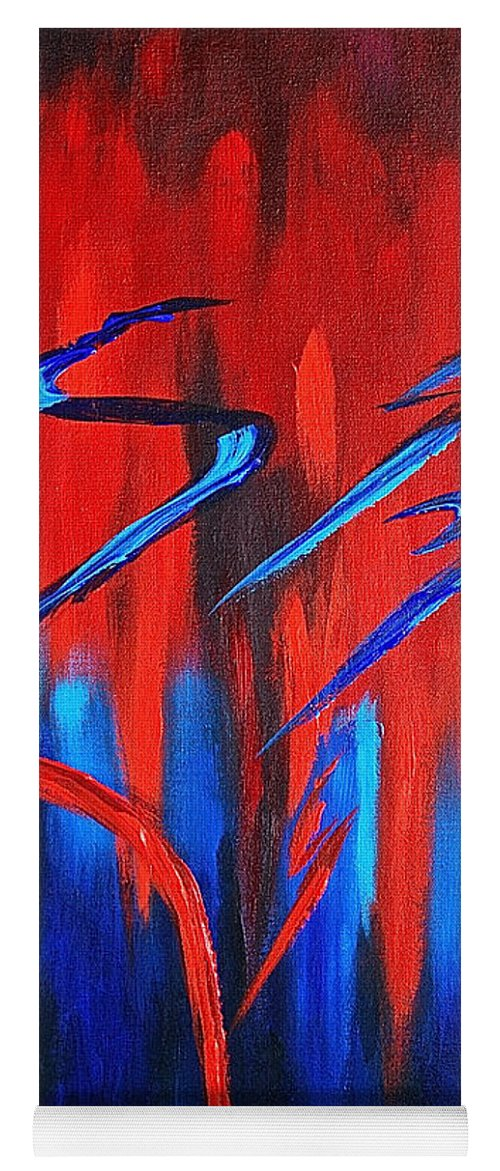 Abstract / Sexy Red And Blue By Herschel Fall Yoga Mat featuring the painting Fire Lake by Herschel Fall