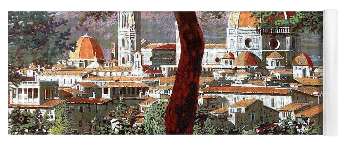 Landscape Yoga Mat featuring the painting Firenze by Guido Borelli