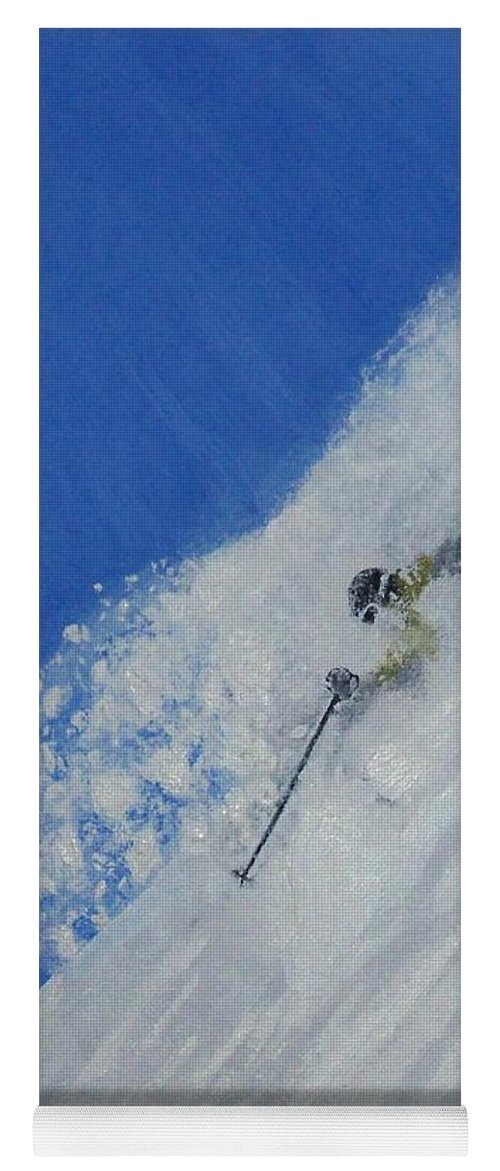 Ski Yoga Mat featuring the painting First by Michael Cuozzo