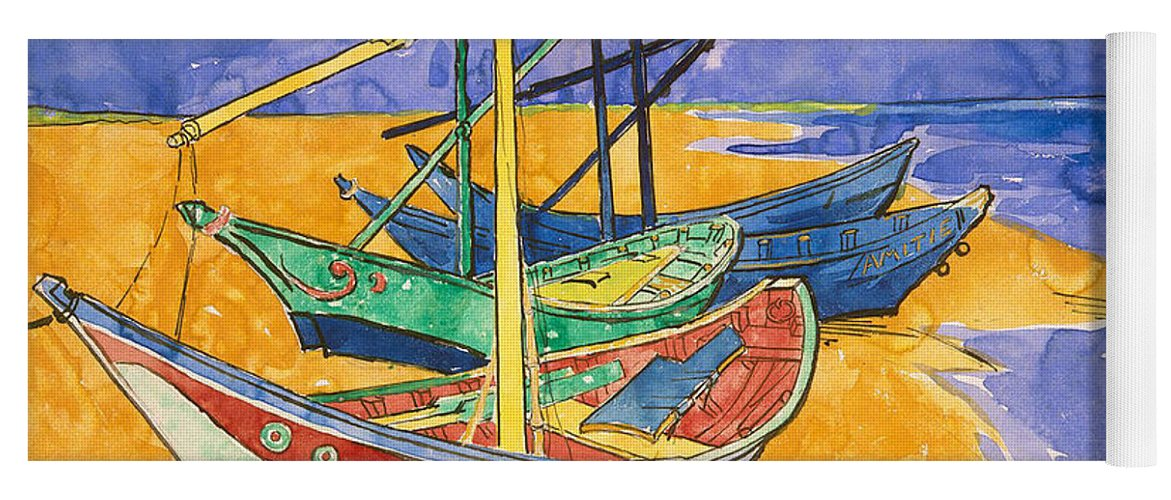 Fishing Yoga Mat featuring the painting Fishing Boats on the Beach at Saintes Maries de la Mer by Vincent Van Gogh