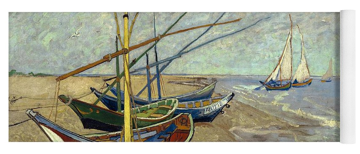 Van Gogh Yoga Mat featuring the painting Fishing Boats On The Beach by Van Gogh