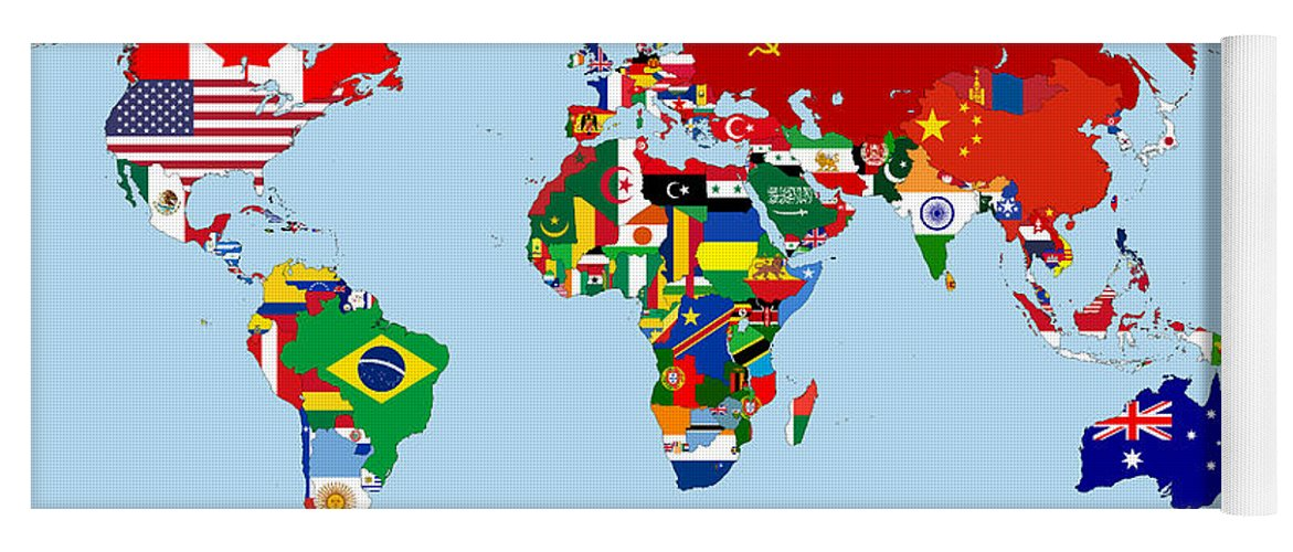 Flag Map Of The World 1965 Yoga Mat for Sale by Movie Poster Prints