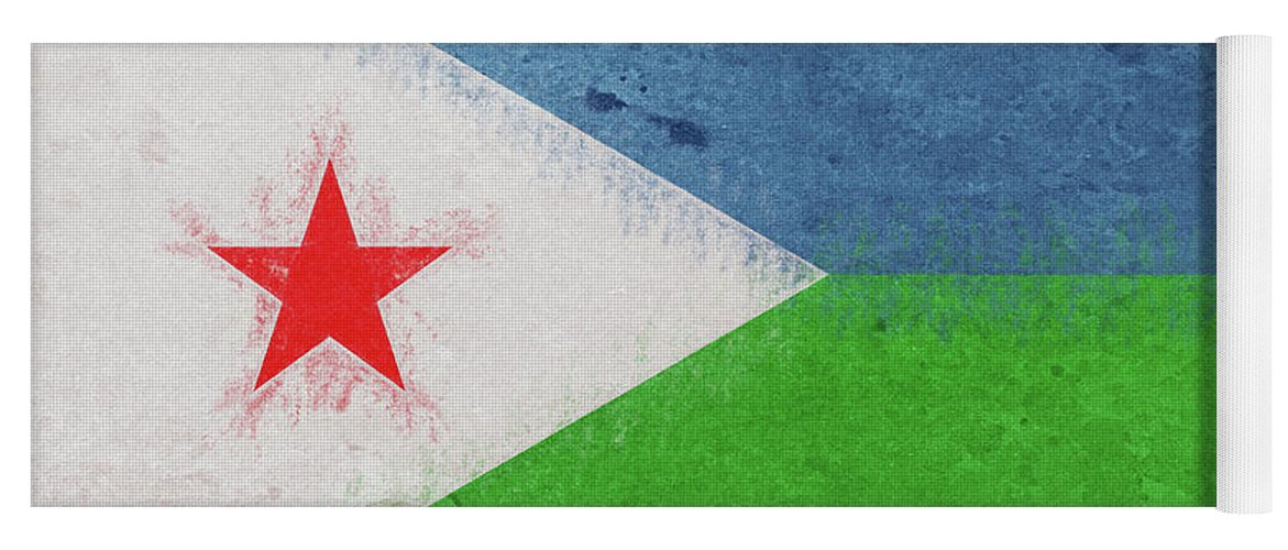Africa Yoga Mat featuring the digital art Flag Of Djibouti Grunge by Roy Pedersen