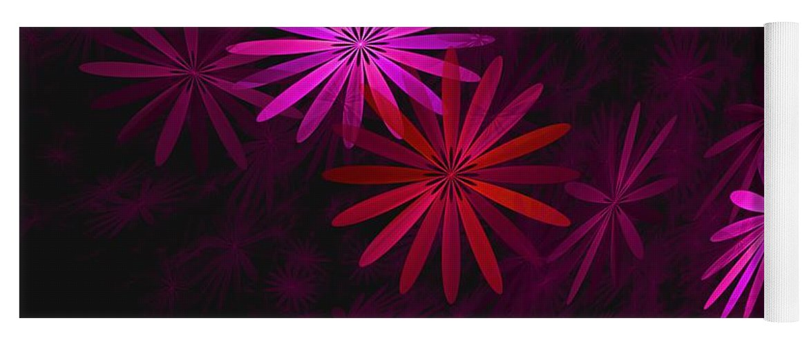 Fantasy Yoga Mat featuring the digital art Floating Floral - 006 by David Lane