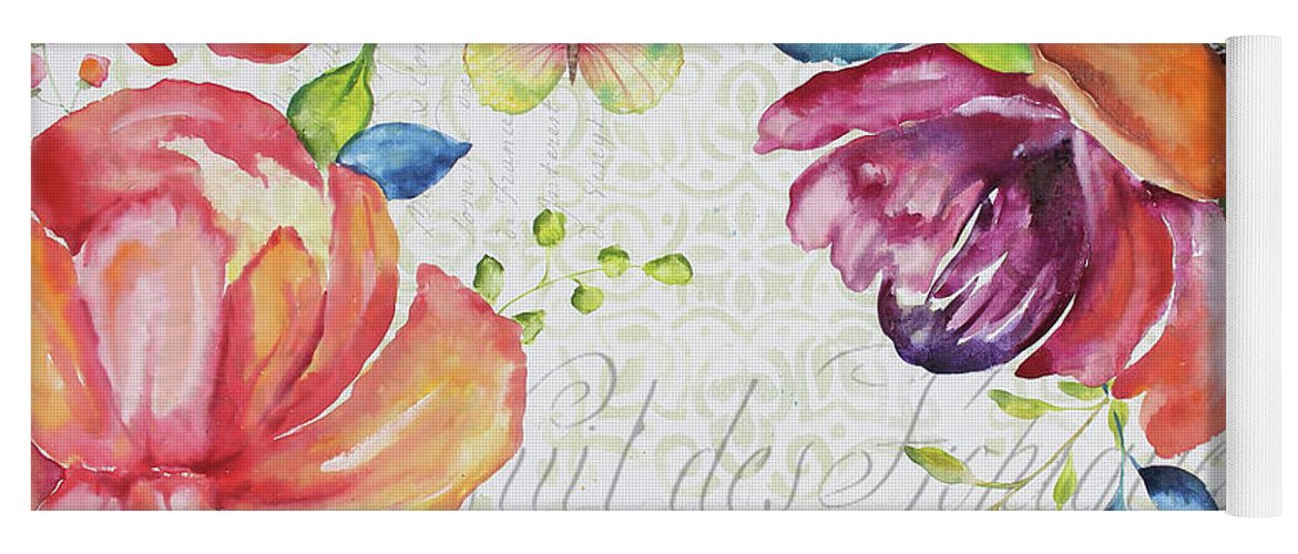 Floral Yoga Mat featuring the painting Floral Symphonie by Jean Plout